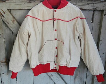 Vintage Western Canvas Jacket-plaid Flannel lining-1970s-Size Large