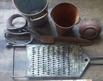 Set of Chippy, Rusty Hardware and goods (6 pieces), Vintage Shears, Vintage Thermometer, Vintage Tins, Vintage Grater, Vintage Door Knob