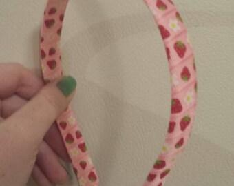 Pink Strawberries and Flowers Handmade Ribbon Headband