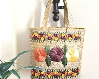 Vintage Woven Straw Tote, Colorful Flowers, Market Bag, Tote Bag