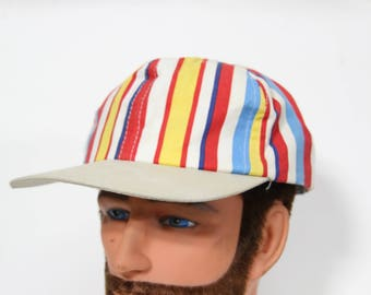Vintage White Blue Yellow Striped Hat, Snapback 1970s 1980s