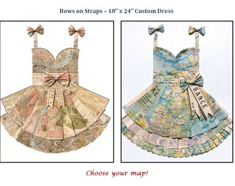 """CUSTOM Sweetheart Style with Bows on Straps Hand Folded Map Dress - 18"""" x 24"""" - Choose your map! - Nursery Wall Decor Art"""
