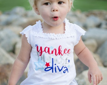 Fourth of July Shirt -  Red White and Blue Shirt - 4th of July Shirt for Girl - 4th of July Outfit - 4th of July Kids - Yankee Doodle Diva