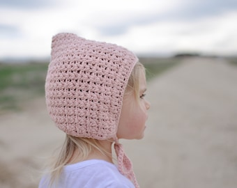 Blush Pixie Bonnet, Crochet pixie hat, Crochet bonnet, Spring bonnet, Baby Girl Bonnet, Knit pixie bonnet, Pixie Hat, Pink crochet bonnet