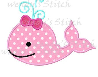 Girl whale applique machine embroidery design instant download digital pattern