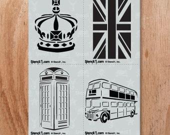 London 4 Pack Stencil- Reusable Craft &DIY Stencils- S1_4P_13 -8.5x11- By Stencil1