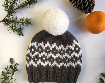 Ready to ship - Hand knitted fair isle baby beanie - dark gray winter baby hat - cunky knit hat - Fair Isle knit hat - free shipping