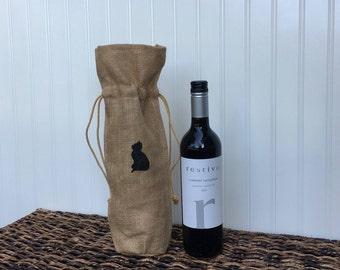Cat Burlap Wine Bag