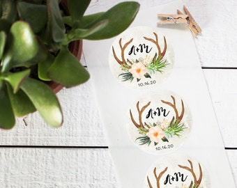 Antler Initial Favor Labels - Bridal Shower Favor Label - Round Labels | Wedding Favor Label | Floral Labels | Mason Jar Labels-ANY OCCASION