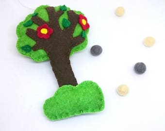 Felt tree ornament - hand embroidered kid's room decoration for him for her with flowers woodland