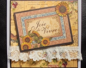 Joy of life card. Joie de Vivre card. French cottage theme card. Provencal theme card. French country cottage theme. Any occasion card.