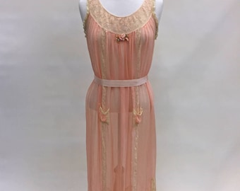 1920s Peach and Creme Lingerie Dress