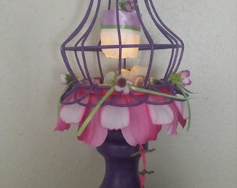 Fairy house bird cage OOAK night light