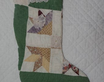 Primitive Quilted Christmas Stocking  with Vintage Dollies and Lace - Repurposed Vintage Quilt (3)