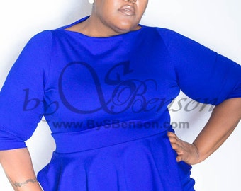 Plus Size Custom Peplum Dress Sleeve 2 Pieces