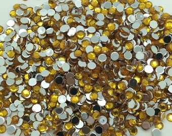 6mm Amber Rhinestones-100 PCS