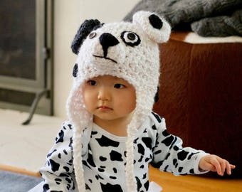 Dalmatian Hat  - Spotted Dog Hat - Baby Hats - Dalmation Costume - by JoJo's Bootique