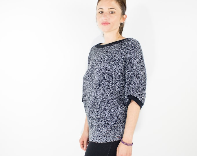 80s Vintage Oversized Chunky Short Sleeve Sweater | Unique V Back Dolman Pullover | Size Medium | Boho Chic | Grunge | 1990s Style