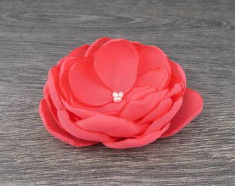 Coral Hair Flower - Coral Wedding - Coral Bridesmaids - Coral Flower Girls - Coral Hair Clip - Coral Accessory - Coral Flower Clips - Brooch