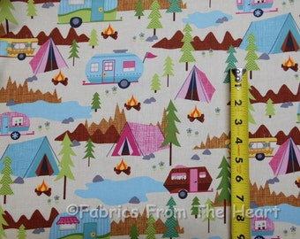 Travel Trailers Vintage TearDrop Campers Trailers on Cream BY YARDS TT Cotton Fabric