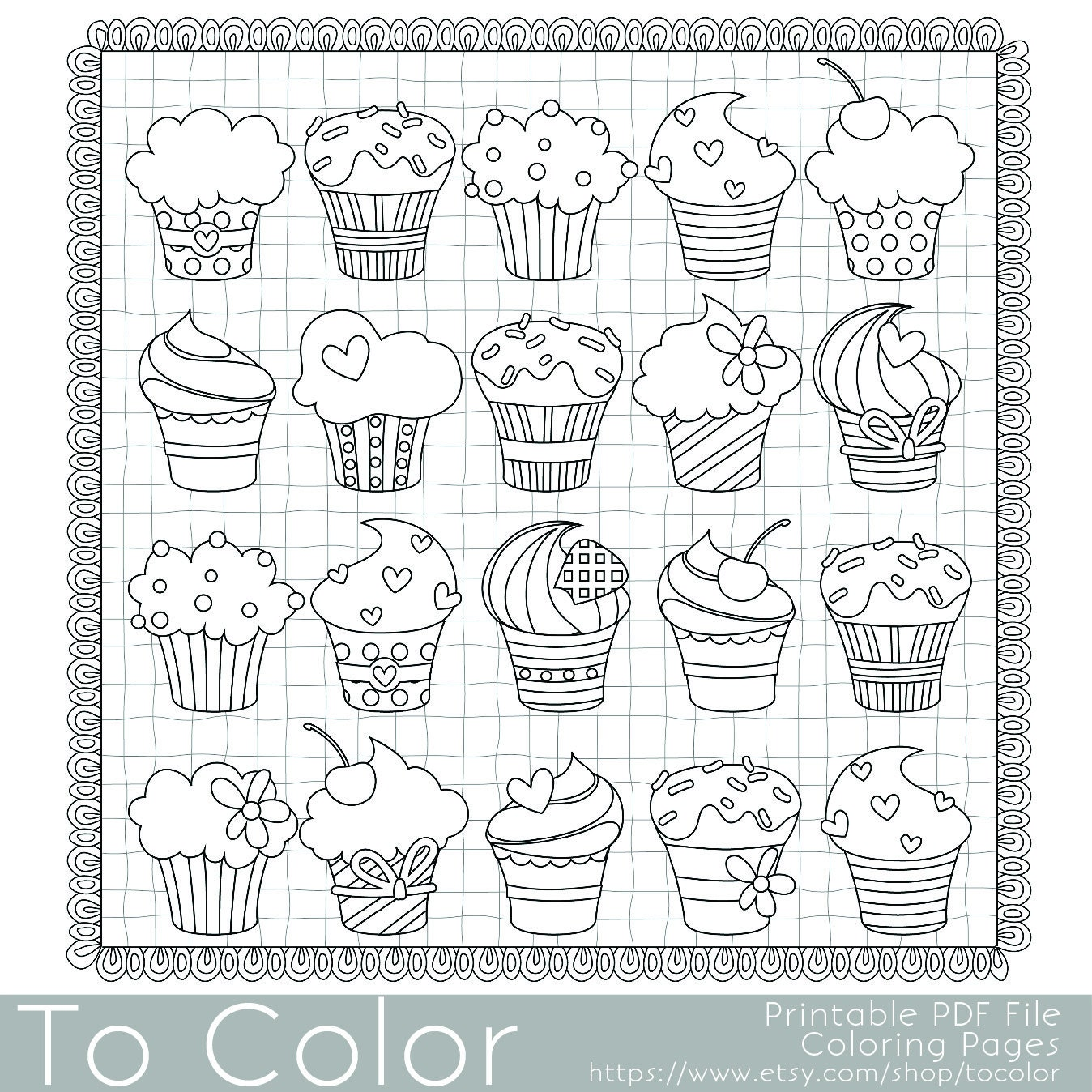 Cupcakes Coloring Page for Adults PDF / JPG Instant