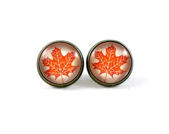 Oak Leaf Earrings, Maple Leaf Earrings, Autumn Jewelry, Autumn Leaves, Nature Jewelry, Fall Leaves, Orange Leaf, Stud Earrings, Small Gifts