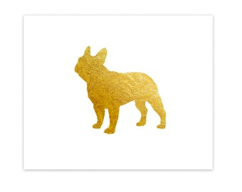 Gilded French Bulldog 8x10 Mod Dog Art Print - Real Metallic Gold Leaf Foil Frenchie Silhouette on White Background