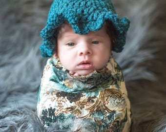 teal newborn hat photography prop