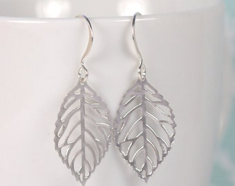 Silver Leaf Dangle Earrings, Silver Earrings, Leaf Silver Earrings [#102]