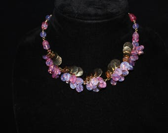 VINTAGE HATTIE CARNEGIE Choker Necklace with Pink Glass Beads and Gold Tone accents