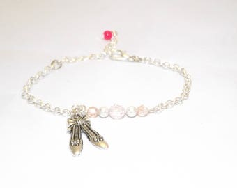 fine silver plated bracelet, ballerina, booties pink tone glass and Crystal bead