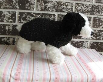 Black fleck dog sweater, med black dog sweater, large black dog sweater, crochet dog sweater.