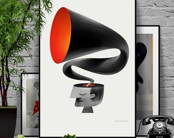 Voices. Original illustration art poster giclée print signed by Paweł Jońca.