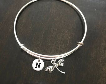 dragon fly Initial Bracelet, hand stamped Initial Bracelet, dragon fly Bangle, dragon fly Bracelet,  CP139