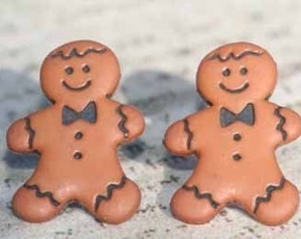 Gingy The Gingerbread Man Stud Post Earrings