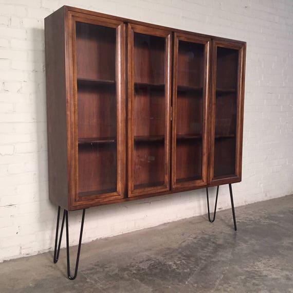 Awesome 1960's bookcase retro bookcase boho style bookscase vintage wood barrister bookcase book shelf