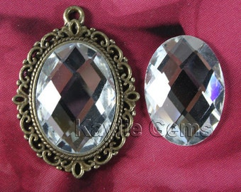 Mirror Glass Cabochon Cab Oval 18x25  Checker Cut Faceted Dome -Crystal - 2pcs
