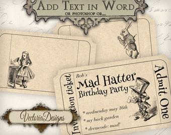 Alice in Wonderland blank Invitation Tickets editable printable images digital collage sheet VD0403