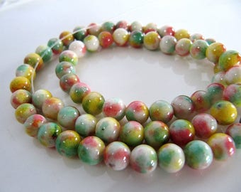 6mm Mountain JADE Beads in Yellow, Coral, Light Green and White, Dyed, Round, Full Strand, 70 Pcs, Gemstones, Candy Jade