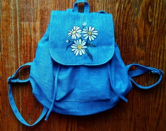 Hand painted flower backpack