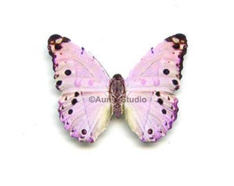 12 Small Paper Butterflies, Realistic 1 inch Paper Butterflies - Mother of Pearl Butterfly