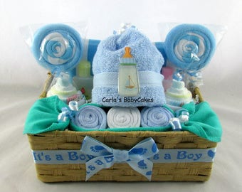 Baby shower gift basket etsy diaper cupcake gift set infant washcloth gift set baby shower gift new mom negle Gallery
