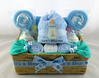Charming Diaper Cupcake Gift Set, Infant Washcloth Gift Set, Baby Shower Gift, New  Mom