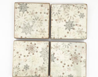 Snowflake Coaster Set, Christmas Coaster, Wooden Coasters, Christmas Decor,  Snowflake Decor,