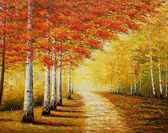Autumn Forest Path,  36x48  100% Hand Painted Oil Painting on Canvas