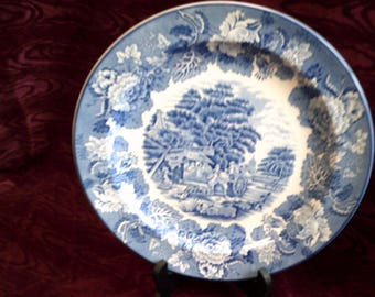 Vintage Blue and White Plate by Enoch Woods, English Scenery - Woods Ware