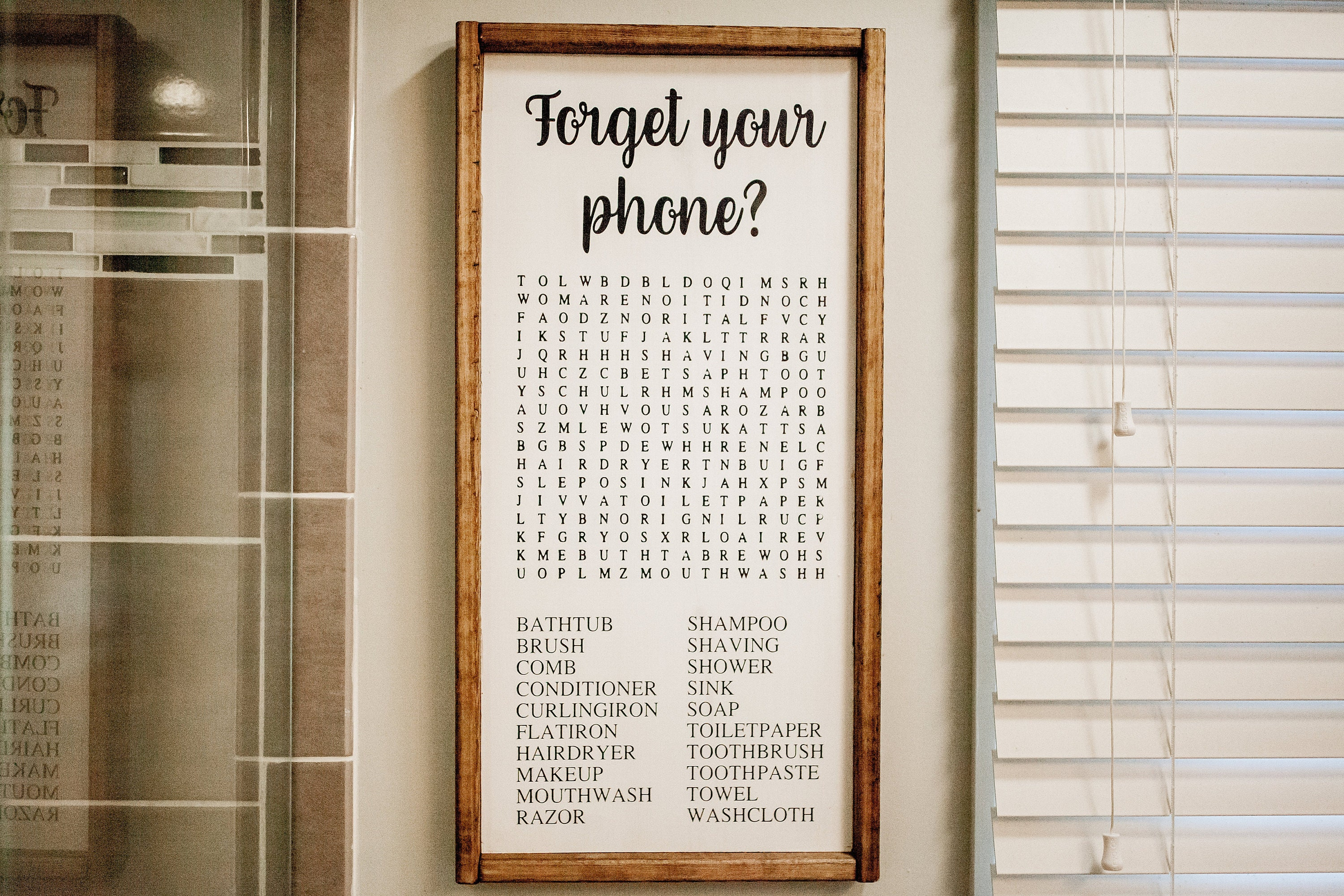 Forget Your Phone Sign Word Search Bathroom Sign Funny