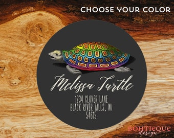 Rainbow Turtle Personalized Return Address Label with Color Choices