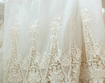 ivory embroidered tulle lace fabric, scalloped lace fabric, vintage style lace fabric, gauze lace, cotton lace fabric ON SALE