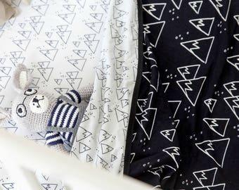 Baby Blanket - Crib Blanket in Nordic Winter design, black and white blanket, baby boy blanket, cot blanket